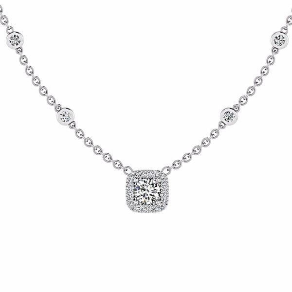 Cushion Halo Diamonds By The Yard Necklace 18K Gold - Thenetjeweler