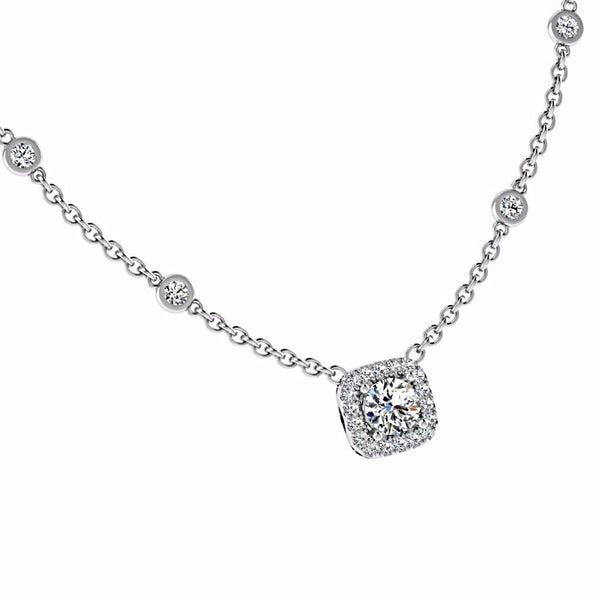 Cushion Halo Diamond-by-the-Yard Necklace 18K Gold - Thenetjeweler by Importex