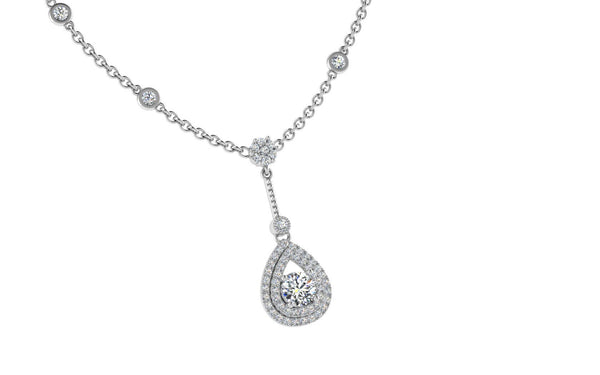Pear Halo Diamond Pendant Necklace 18K Gold 0.65 ct.tw - Thenetjeweler