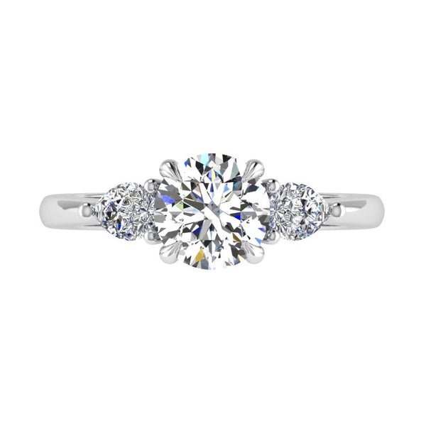 Round & Pear Shape Three Stone Diamond Engagement Ring 18K Gold - Thenetjeweler