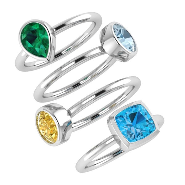 birthstone stacking rings gold