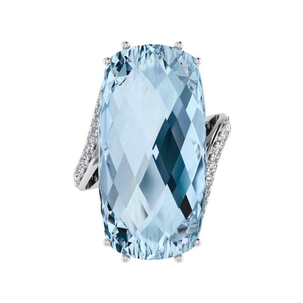 Large Cushion Blue Topaz and Diamond Ring 18K Gold - Thenetjeweler
