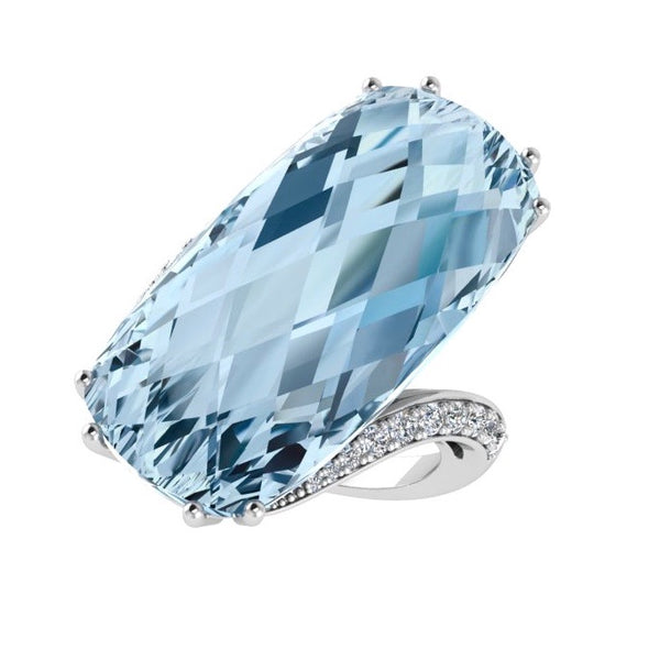 Large Cushion Blue Topaz and Diamond Ring 18K Gold