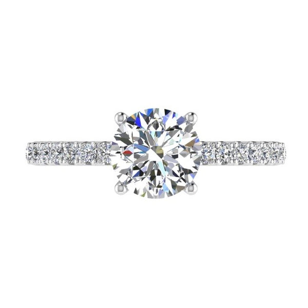 Round Diamond Engagement Ring with Side Stones 18K Gold (0.25 ct. tw) - Thenetjeweler
