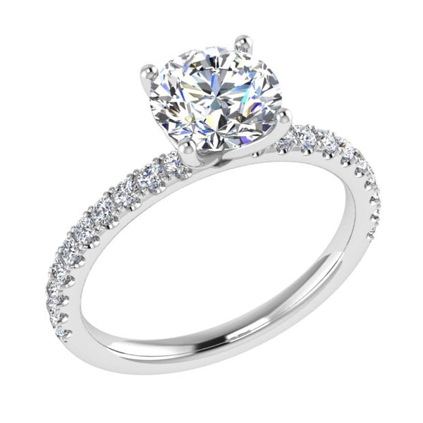 Round Diamond Engagement Ring with Side Stones 18K Gold