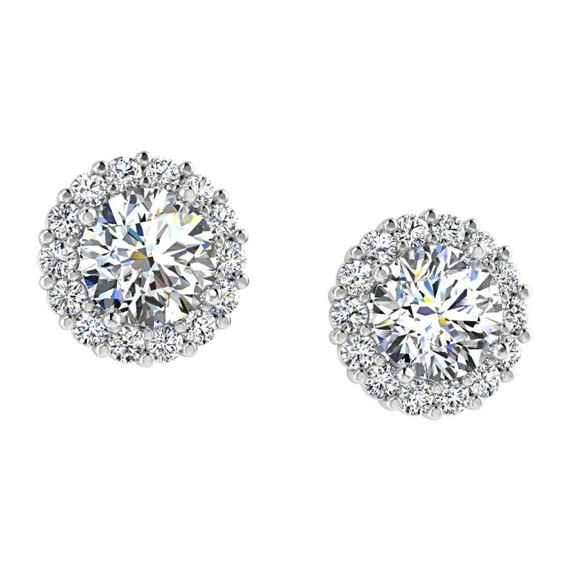 Diamond Halo Stud Earrings 14K White Gold Setting - Thenetjeweler