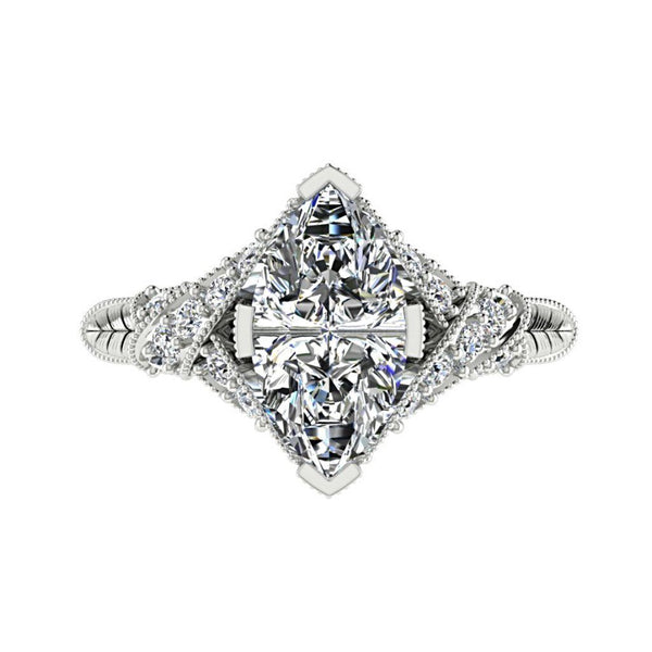 Marquise Diamond Side Stone Twisted Band Engagement Ring 18K White Gold (0.26 ct.t.w.) - Thenetjeweler