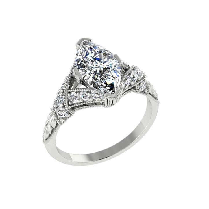 Vintage Style Marquise Diamond Side Stone Engagement Ring 18K White Gold (0.26 ct.t.w.) - Thenetjeweler
