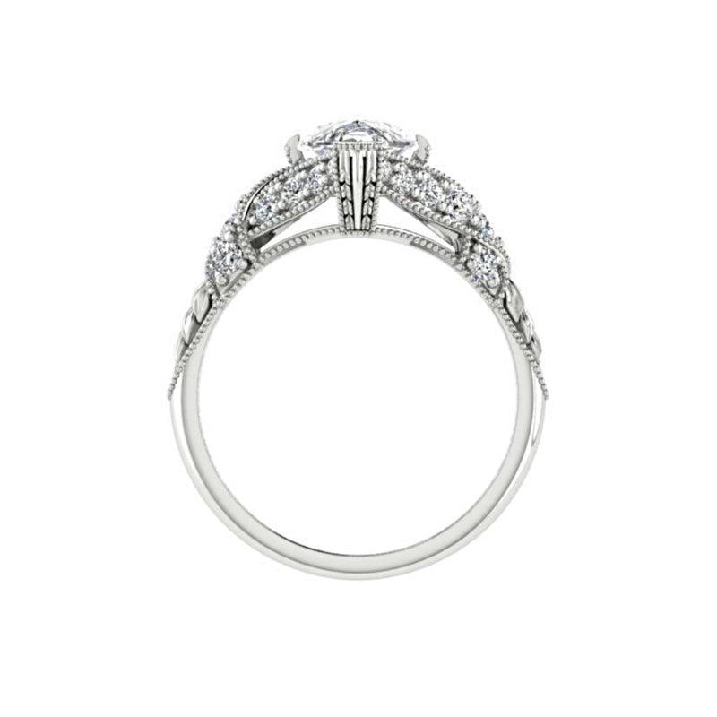Marquise Diamond Side Stone Twisted Carved Band Engagement Ring 18K White Gold (0.26 ct.tw.) - Thenetjeweler