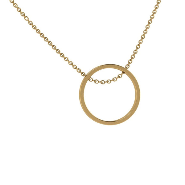 Open Circle Pendant Necklace 14K Gold