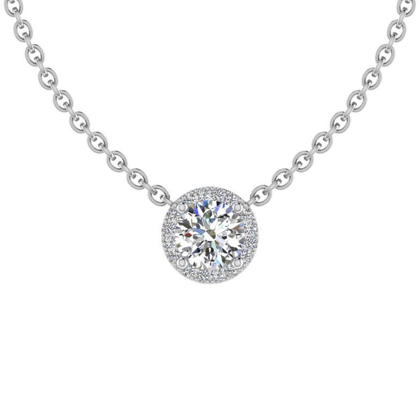Round Diamond Halo Pendant Necklace 14K Gold - Thenetjeweler
