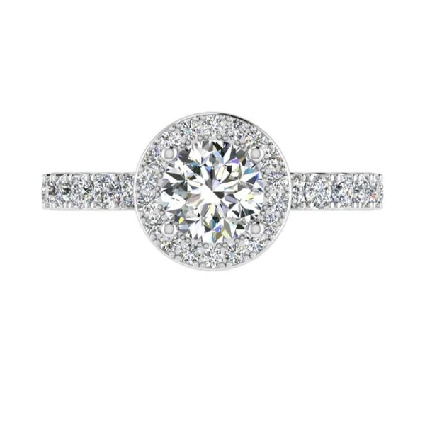 Halo Round Diamond Engagement Ring 18k Gold  0.52 ct. t.w. - Thenetjeweler
