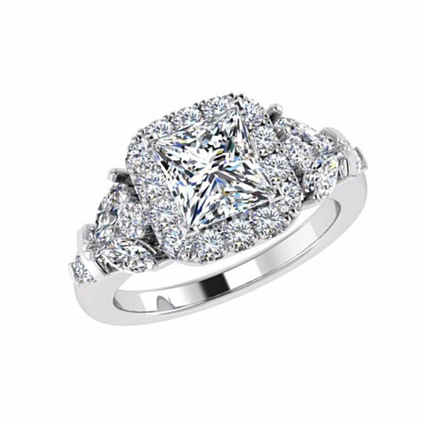 Princess Halo Diamond Engagement Ring with Fancy Side Stones 18K White Gold - Thenetjeweler