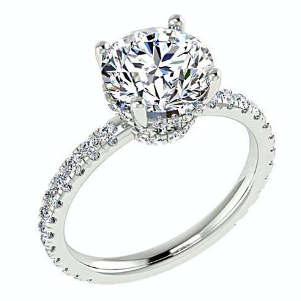 Round Diamond Side Stone Engagement Ring
