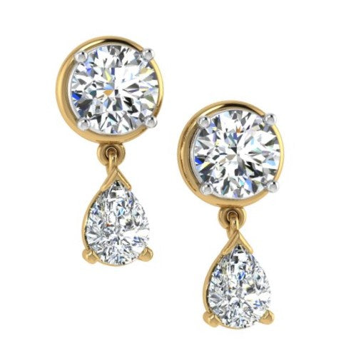Diamond Dangle Jacket Earrings 14K Gold - Thenetjeweler