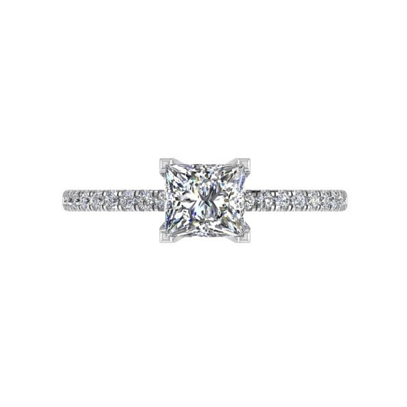 princess cut diamond engagement ring white gold (0.12 ct. tw) - Thenetjeweler