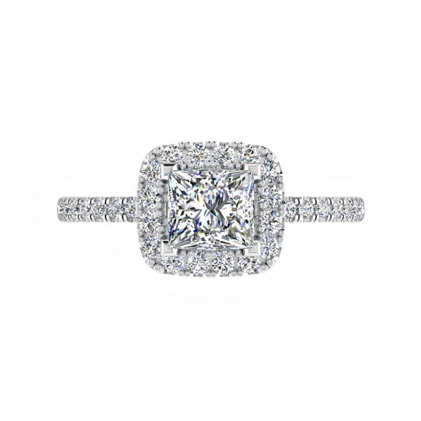 Princess cut diamond halo engagement ring 18K Gold - Thenetjeweler by Importex