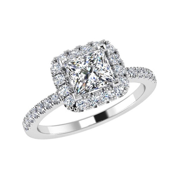 Princess Diamond Halo Engagement Ring 18K Gold
