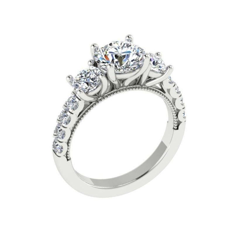Round Three Stone Diamond Engagement Ring with Side Stones 18K Super White Gold - Thenetjeweler