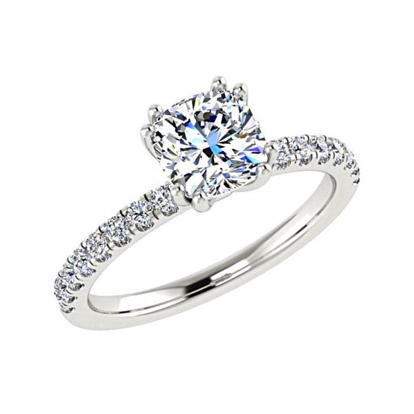 Cushion Diamond Double Prong Setting 18K Gold (0.22 ct.tw.) - Thenetjeweler by Importex