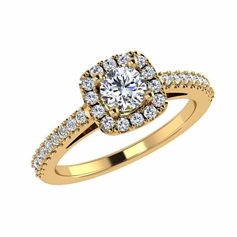 Round Stone Cushion Halo Side Stone Engagement Ring 18K Gold - Thenetjeweler
