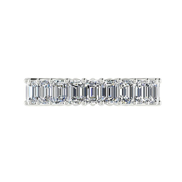 3.68cwt Emerald Cut Diamond Eternity Ring 18K White Gold - Thenetjeweler by Importex