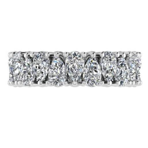 Pear Cut Diamond Eternity Ring 18K White Gold 5.50 ct.tw. - Thenetjeweler