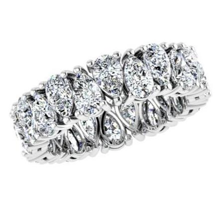 Pear Cut Diamond Eternity Ring 18K White Gold (5.50 ct.tw.) - Thenetjeweler