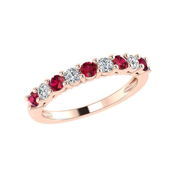 Ruby and Diamond Semi Eternity Ring 18K White Gold - Thenetjeweler