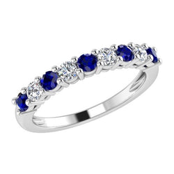 Sapphire and Diamond Semi Eternity Ring 14K Gold - Thenetjeweler