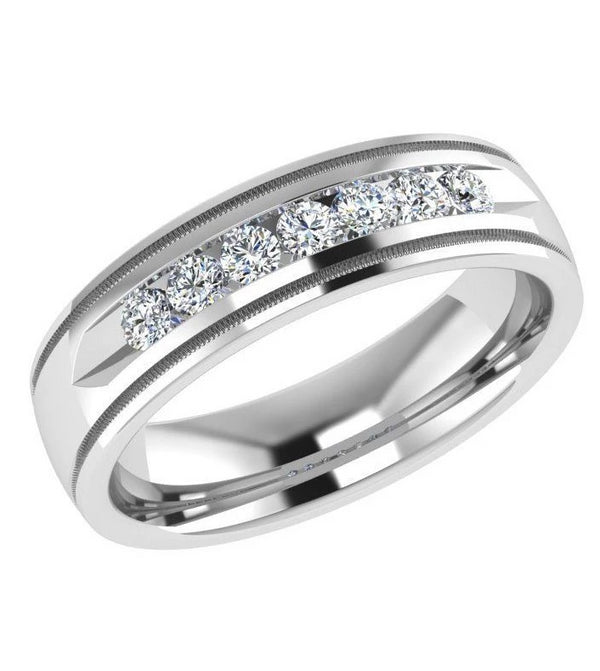 Channel Set Diamond Wedding Ring Milgrain (0.40 ct. tw.) - Thenetjeweler