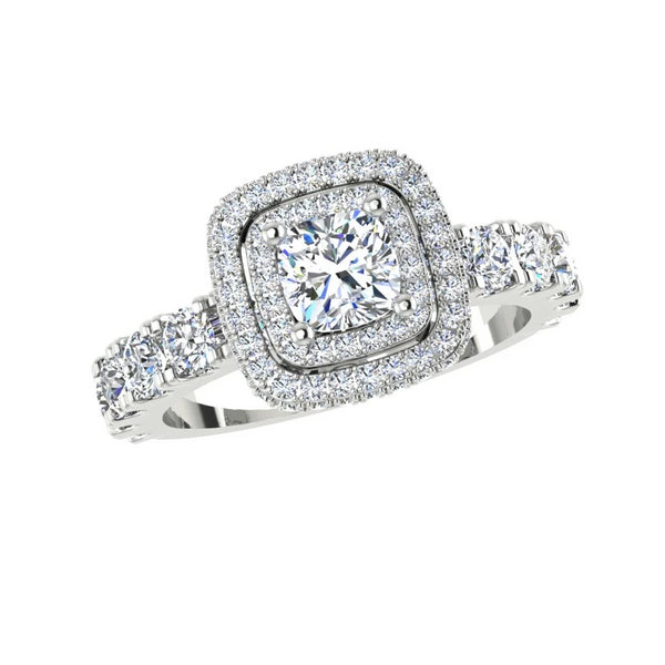 Double Halo Diamond Engagement Ring (1.50 ct.tw) - Thenetjeweler