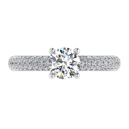 3 Row Round Diamond Engagement Ring with Side Stones 18K Gold (0.50 ct. tw) - Thenetjeweler