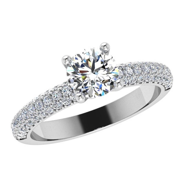 Round Diamond Engagement Ring with 3 Row Side Stones 18K Gold