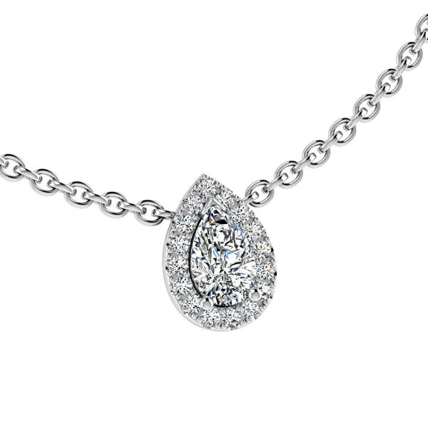 Pear Shape Diamond Halo Floating Pendant in 18k White Gold  (0.12ct halo) - Thenetjeweler