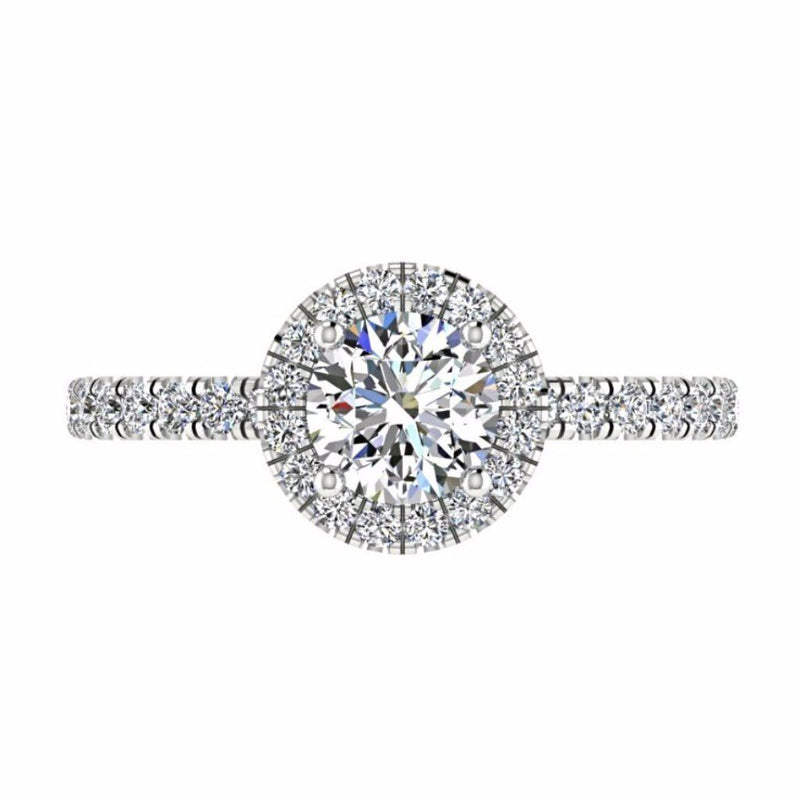 Round Diamond Halo Engagement Ring with Side Stones 18K Gold - Thenetjeweler