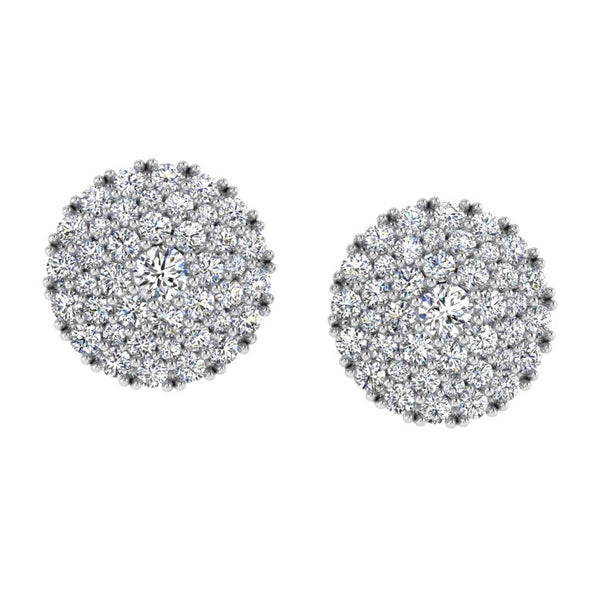 3 Row Halo Diamond Pave Stud Earrings 14K Gold 0.85 ct.tw - Thenetjeweler