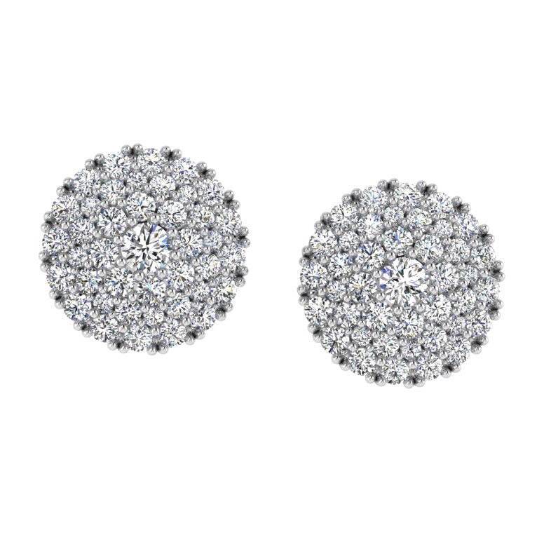 Halo Diamond Pave Stud Earrings - Thenetjeweler