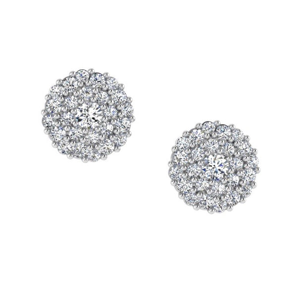 Round Diamond Pave Stud Earrings 14K Gold