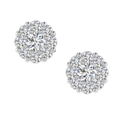 Diamond Halo Stud Earrings 14K Gold (0.30 ct.tw) - Thenetjeweler