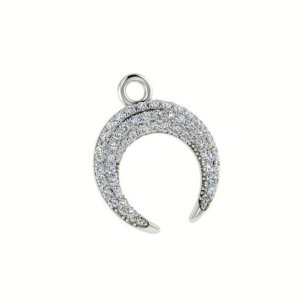 Diamond Crescent Moon Pendant Necklace 18K White Gold - Thenetjeweler