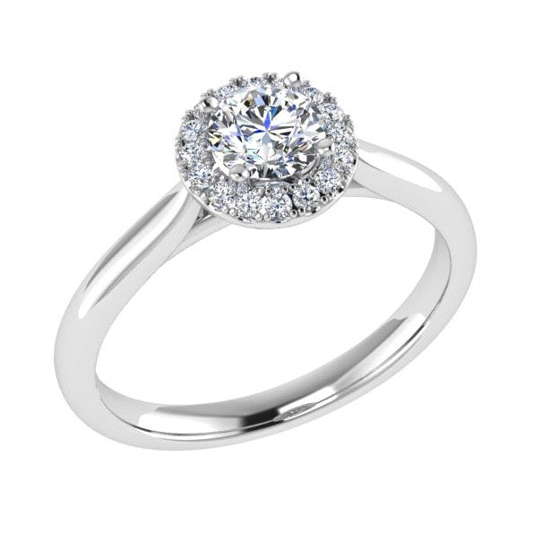Round Diamond Halo Engagement Ring 18K Gold