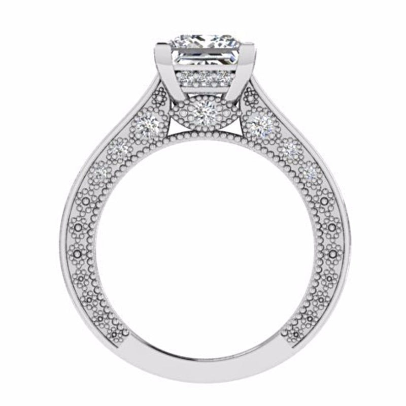 Princess Diamond Engagement and Eternity Ring Set 18K White Gold - Thenetjeweler