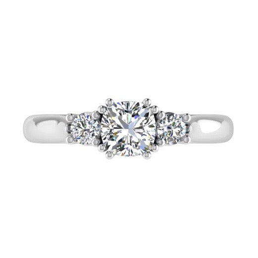 Three Stone Cushion Diamond Engagement Ring 18K Gold - Thenetjeweler