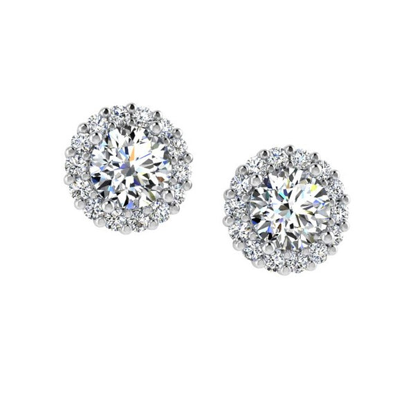 Diamond Halo Stud Earrings In 14k White Gold (0.28 ct.tw) - Thenetjeweler