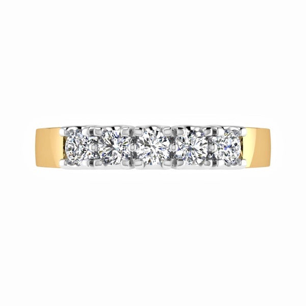 5 Diamond Semi Eternity Ring 14K Gold (0.5 ct. tw) - Thenetjeweler by Importex