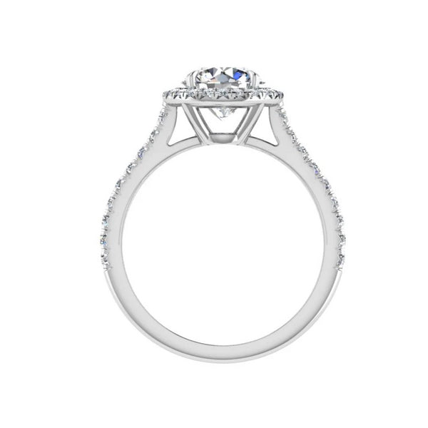 Platinum Round Diamond Halo Engagement Ring(0.40 ct. tw.) - Thenetjeweler by Importex