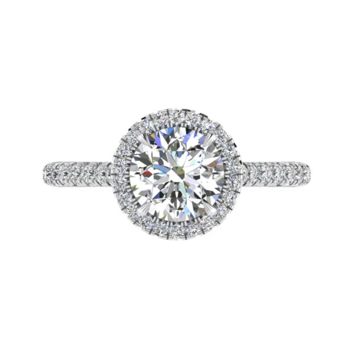 Platinum Round Diamond Halo Engagement Ring 0.40 ct. tw. - Thenetjeweler