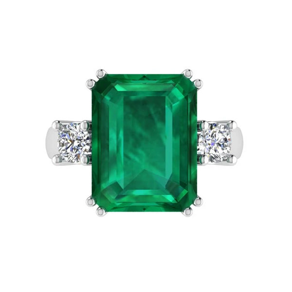 Emerald-Cut Emerald and Diamond Three Stone Ring - Thenetjeweler