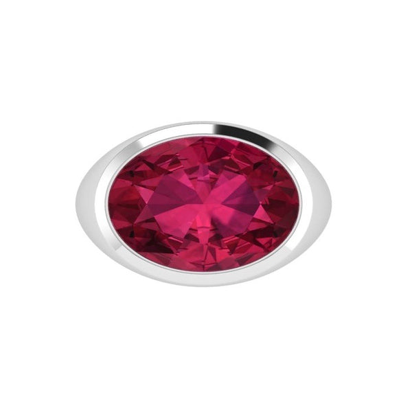 Ruby Gemstone Oval Ring 14K Gold - Thenetjeweler